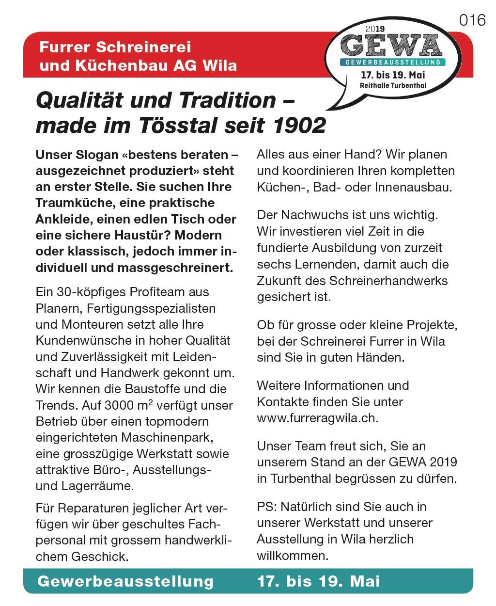 Furrer Schreinerei und Küchenbau AG wila