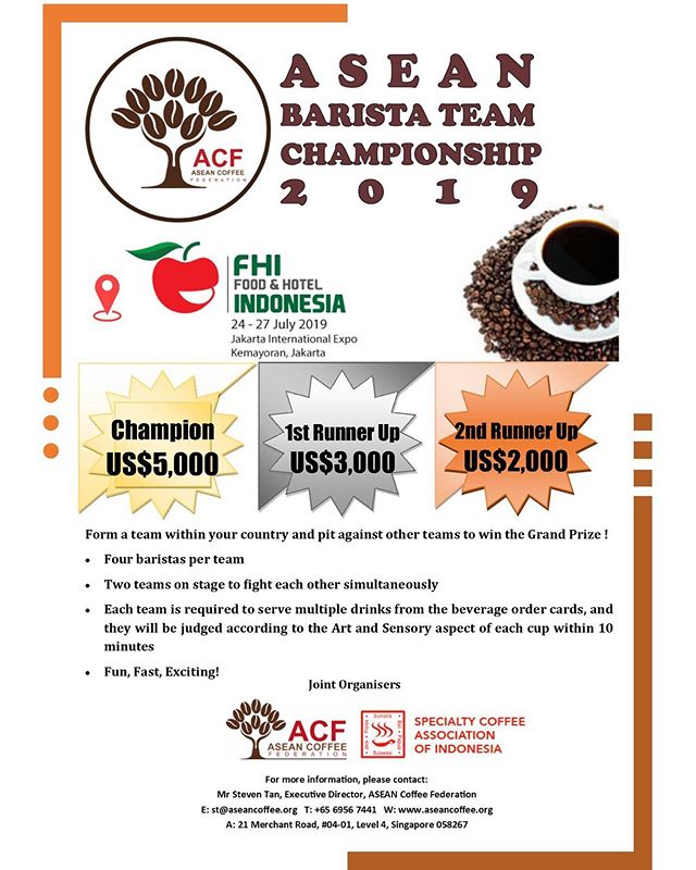 Exciting news! The ASEAN Coffee Federation is bringing a new competition to the table this year and prizes are crazy attractive 🤩 Hurry form your teams and sign up now! Drop an email to: singaporecoffeeassociation@gmail.com and start practicing your teamwork! #singaporecoffee #aseancoffeefederation #ACF #SCA