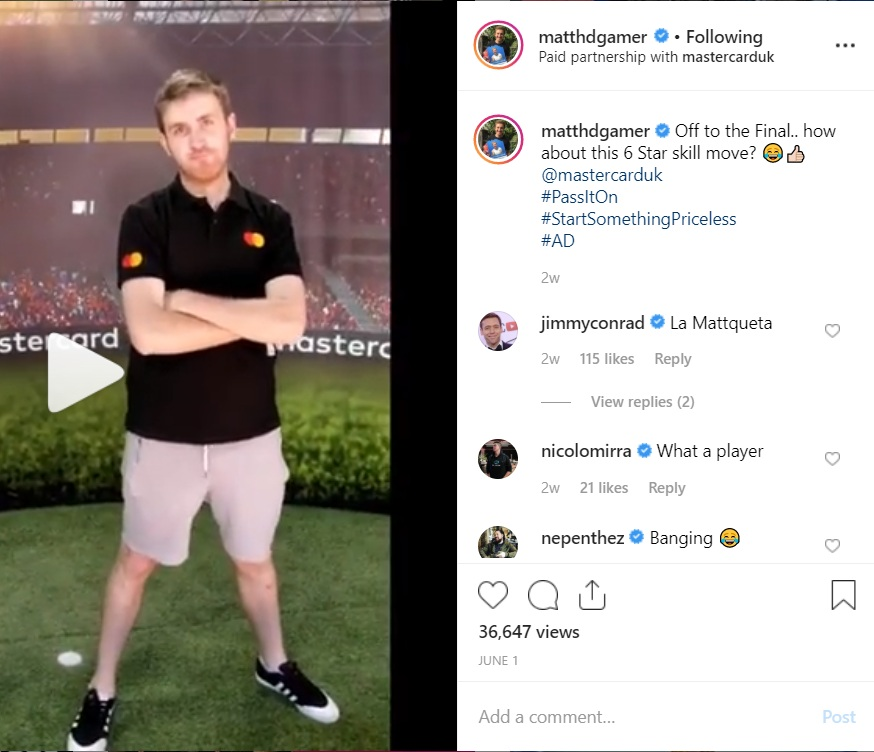 Master Card - Matt worked with Master Card at the UEFA Champions League final in Madrid in 2019 creating content, attending the fan park and posting on instagram.