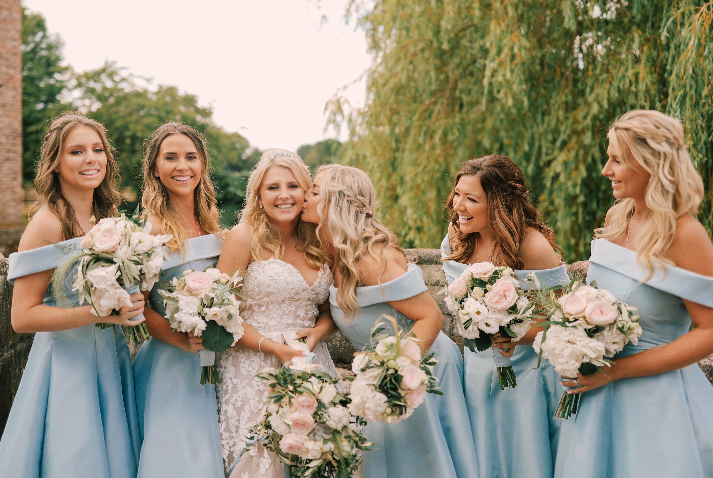 Boho Bride and half-up half-down bridesmaids hair