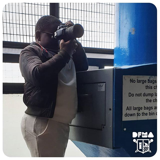 Shaquille photographing residents in Draper House #DFMA #elephantandcastle #photography #youngphotographer
