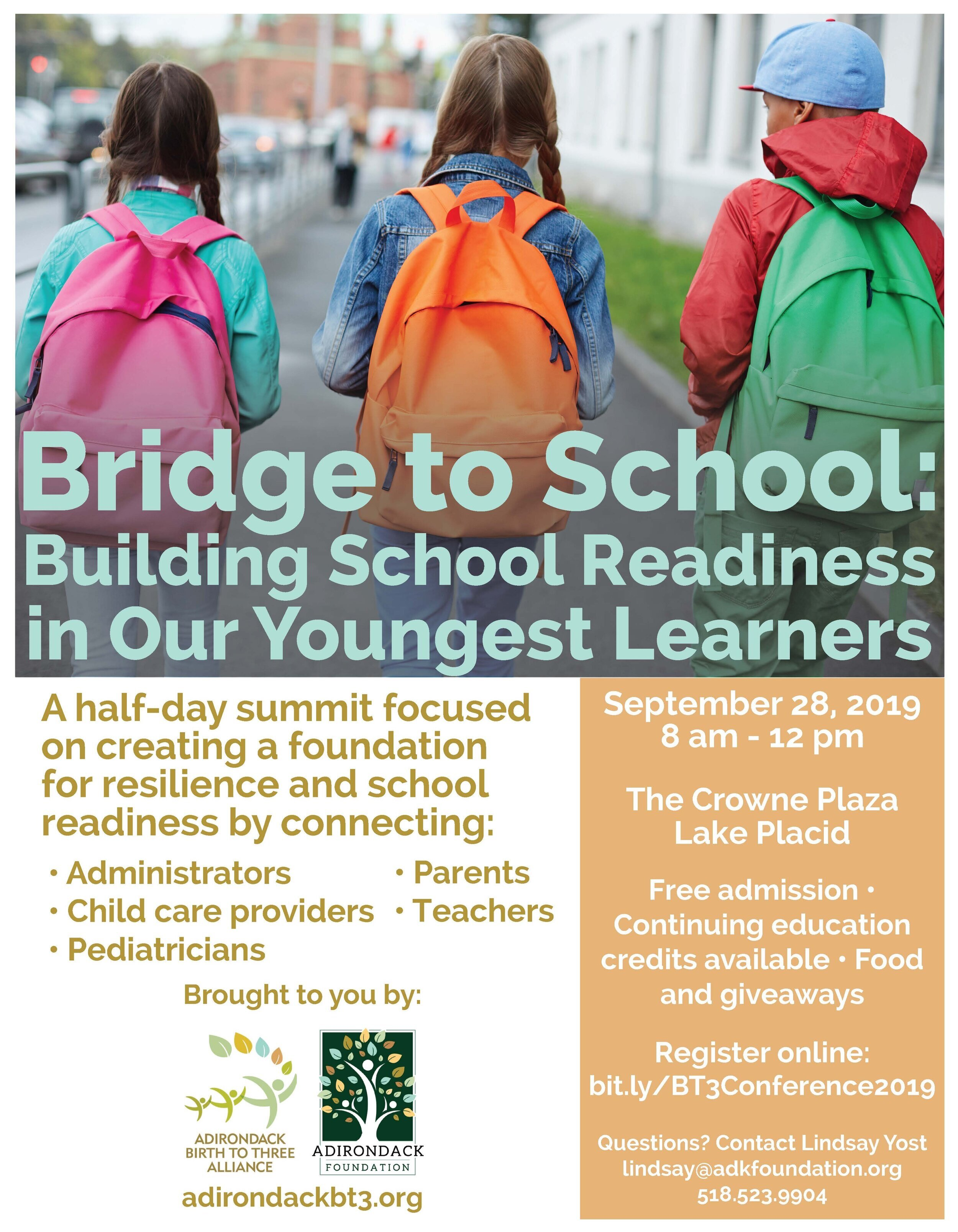 9/28/19: Bridge to School: Building School Readiness in Our Youngest Learners - On September 28th, The Adirondack Birth to Three Alliance will host a summit featuring keynote speaker Rachel Wagner! Admission is free and space is limited to sign up today! Click the image to register!