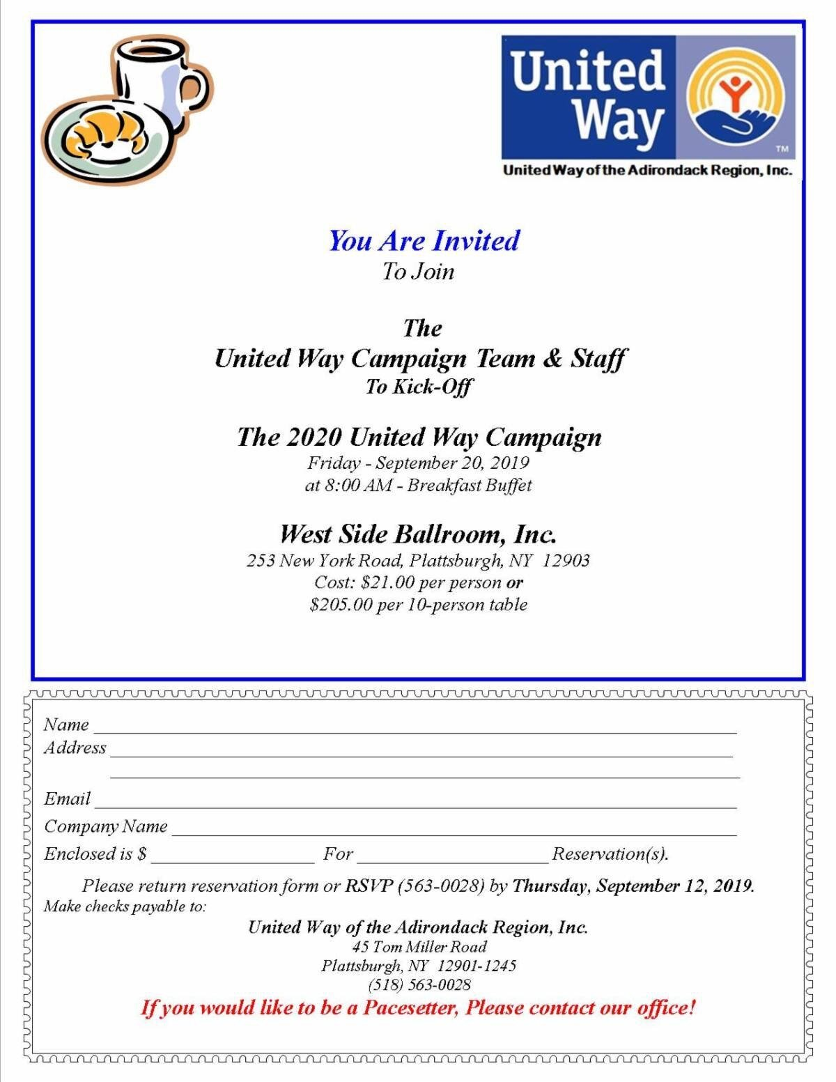 9/20/19: United Way of the Adirondack Region's 2020 Kick Off Campaign Breakfast - On September 20th, the United Way of the Adirondack Region is hosting their 2020 Kick Off Campaign Breakfast! To RSVP call (518) 563-0028.