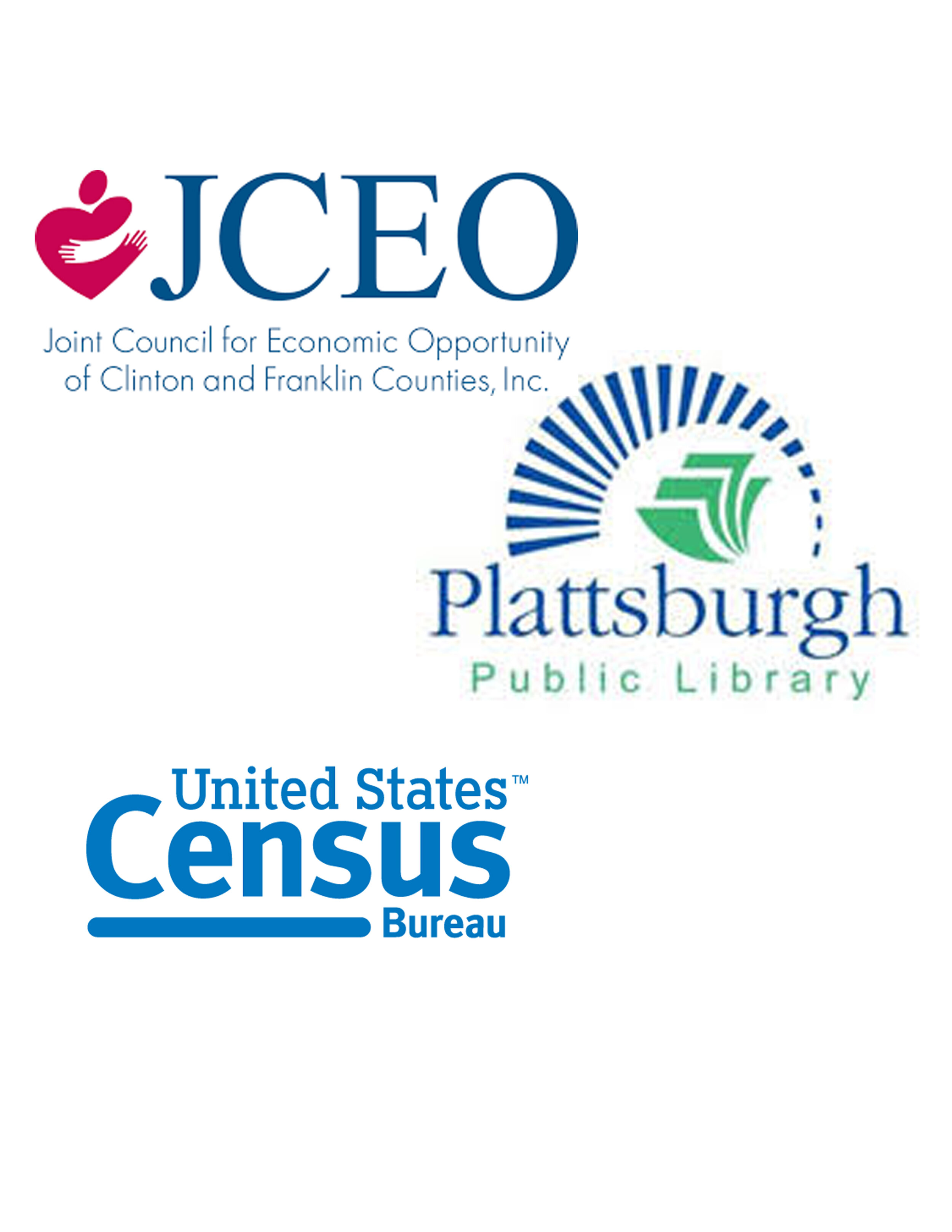 9/19/19: Census Information & Collaboration session - On September 19th, join the Plattsburgh Public Library, JCEO and the U.S. Census Bureau in bringing together a community of local leaders, nonprofits, innovators, businesses, and advocates to develop creative solutions that will move the needle on census response rates in Clinton County. Session will be held at the Plattsburgh Public Library Auditorium at 10am. Click the image to RSVP. For more information contact Sarah Spanburgh at spanburghs@cityofplattsburgh-ny.gov.