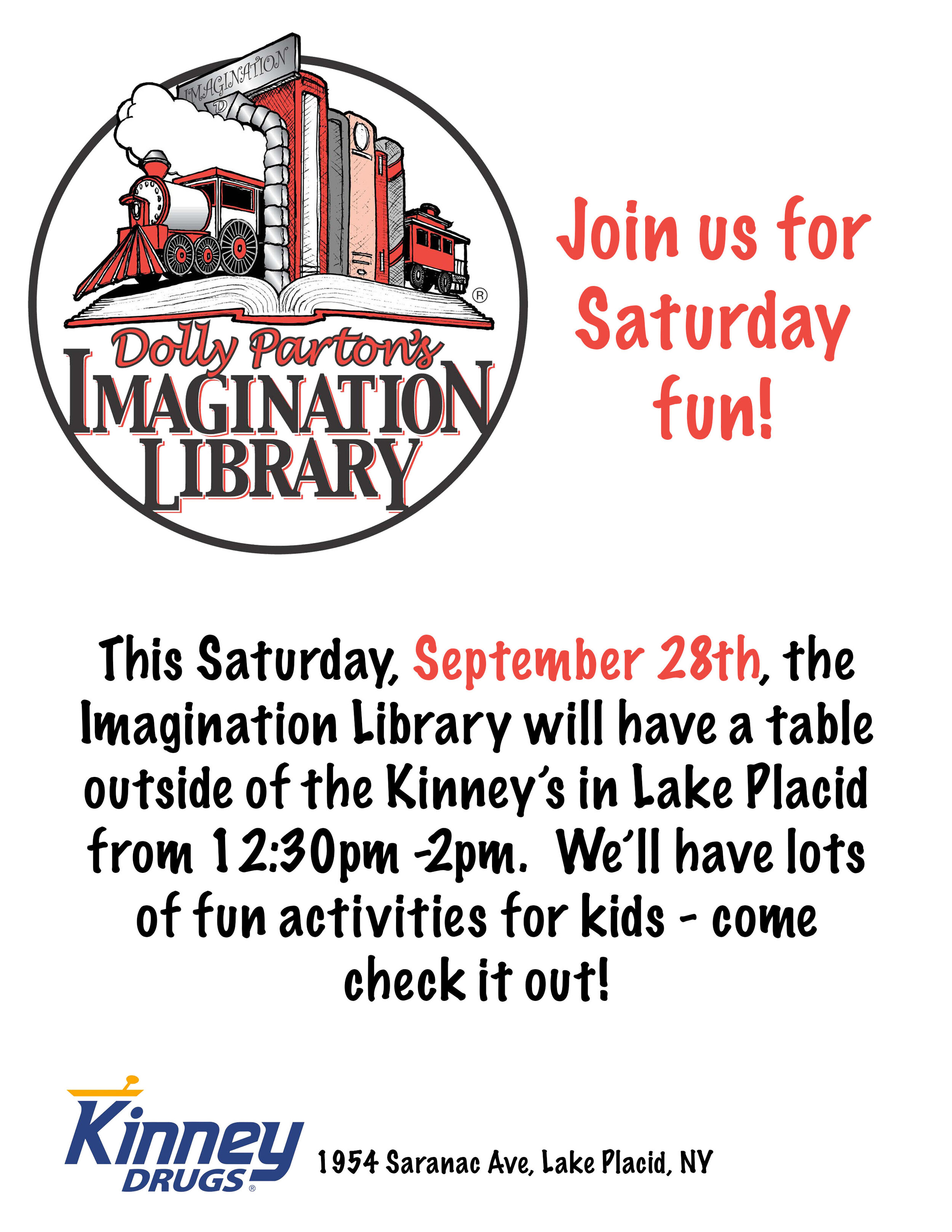 9/28/19: Imagination Library Event - This Saturday, September 28th, the Imagination Library will have a table outside of the Kinney's in Lake Placid from 12:30pm -2pm. We'll have lots of fun activities for kids - come check it out!