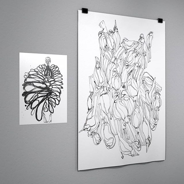 Illustrations from a mixed serie of winged creatures and fashion.  All painted in ink, and now as prints in a small volume ◽ For enquiries, slide into my DMs. 🕊 From left: Fashion illustration: A3 (29,7x42 cm)  The fusion bird: 70x100 cm, printed upon request