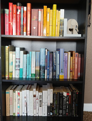 And after reading her shelves to make the books fit! -