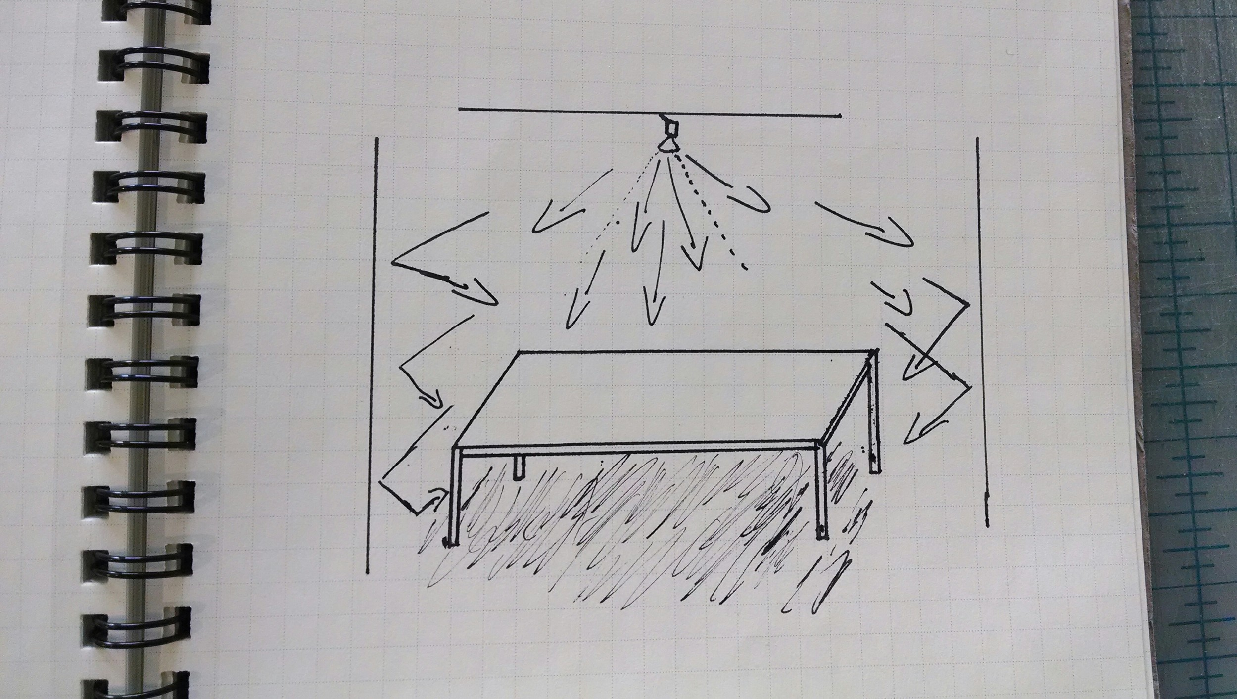 HALOGEN LIGHT GOES EVERYWHERE, SO EVEN A SOLID TABLE WILL HAVE ONLY SOFT SHADOWING BENEATH IT.