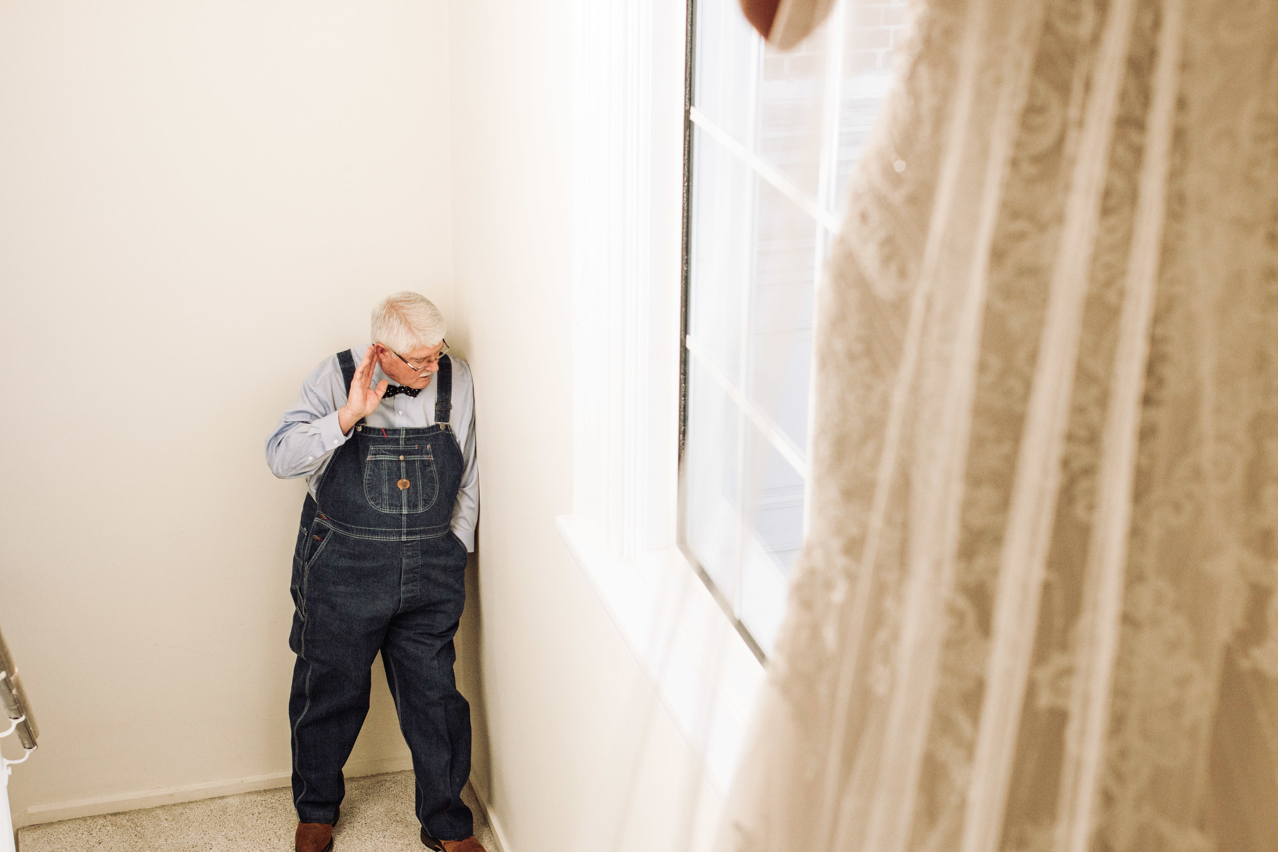 First look with Brooklyn's grandpa, who had bought brand new overalls just for the wedding.