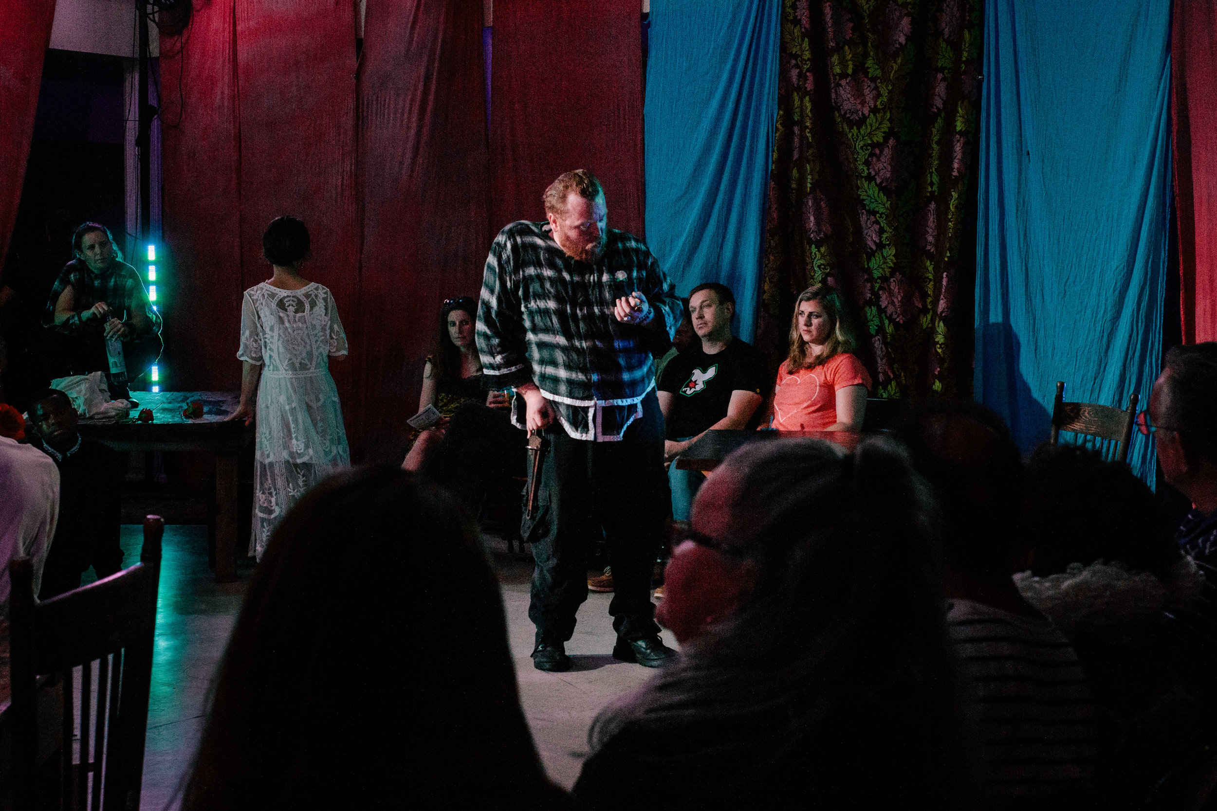 Richard arrives, ready to woo the war widow Lady Anne. He tells the audience that he was responsible for the death of her husband and father. She resists at first, but is won over.