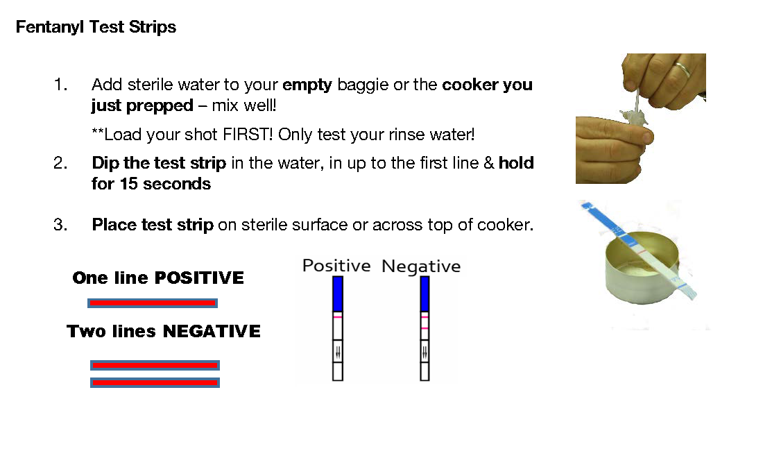 using fentanyl test strips - Instructions can be found online at Harm Reduction Coalition:https://harmreduction.org/issues/fentanyl/Image courtesy of Harm Reduction Coalition.