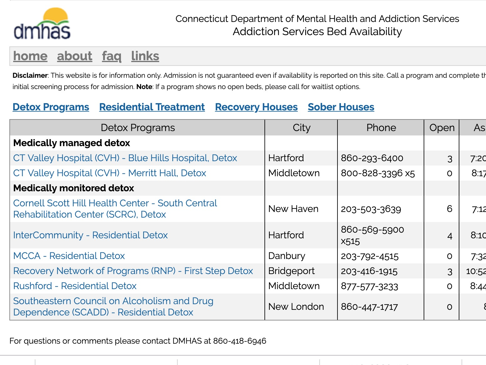 drug treatment options - The Connecticut Addiction Services website was developed to help people in Connecticut get timely access to detox, residential addiction treatment and recovery house beds.