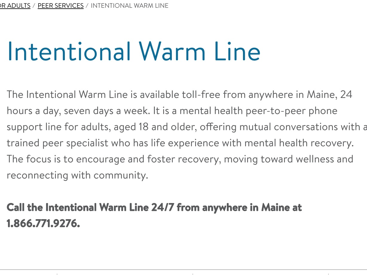 Warm Line Peer Support - The Intentional Warm Line has trained peer specialists available 24 hours a day, 7 days a week.
