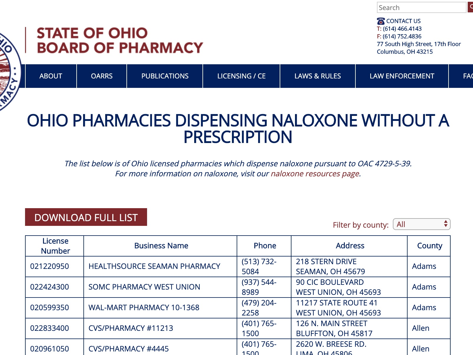 pharmacy-based naloxone access - This locator enables you to find a pharmacy in your area that provides naloxone distribution. Each location includes the name of the pharmacy, location, and a phone number. Call ahead with your insurance details to request information about your co-pay.