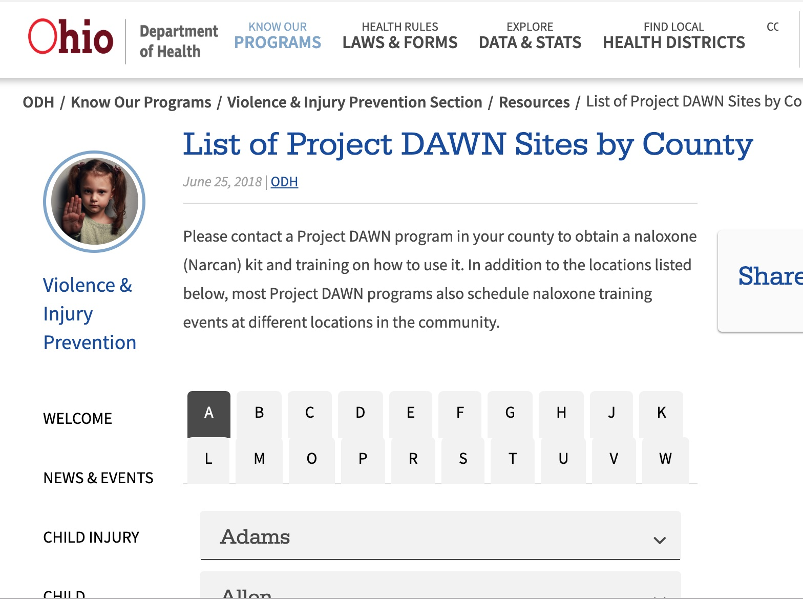 project dawn sites - Use this site to search Project DAWN sites by county. Project DAWN locations provide overdose response training and naloxone provision. Call ahead for more information.