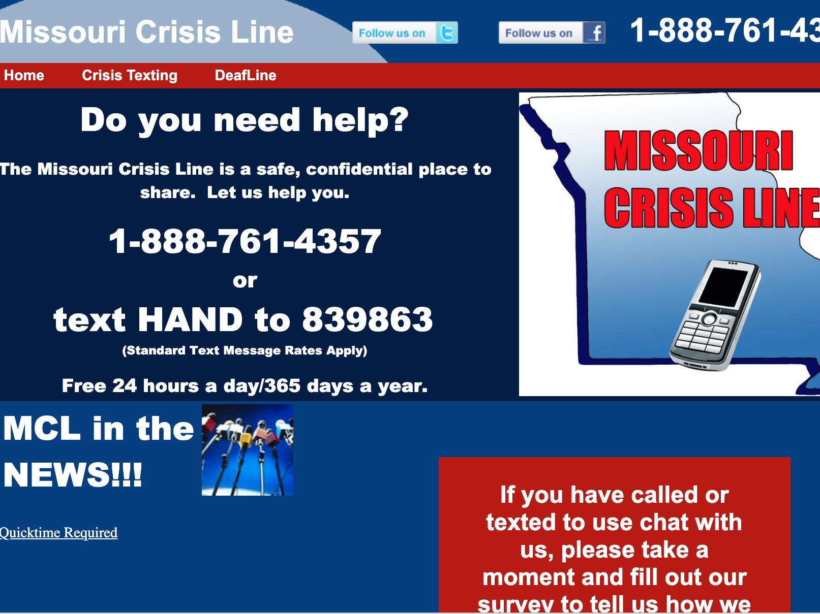 missouri crisis line - Missouri's Crisis Line is available 24 hours a day, 365 days a year with phone and text options.