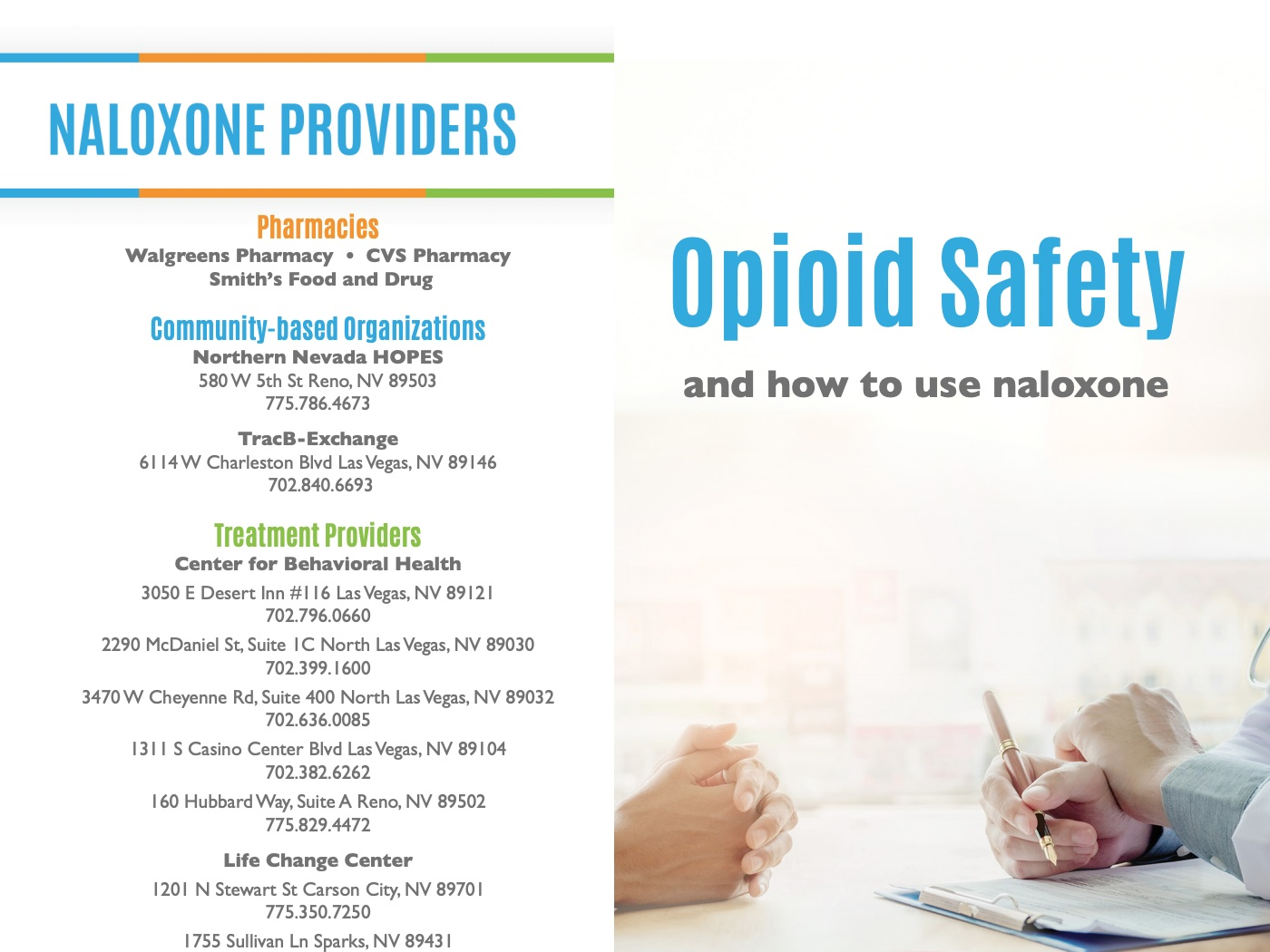 Naloxone resources - Information about where to obtain naloxone in Nevada and how to use it.