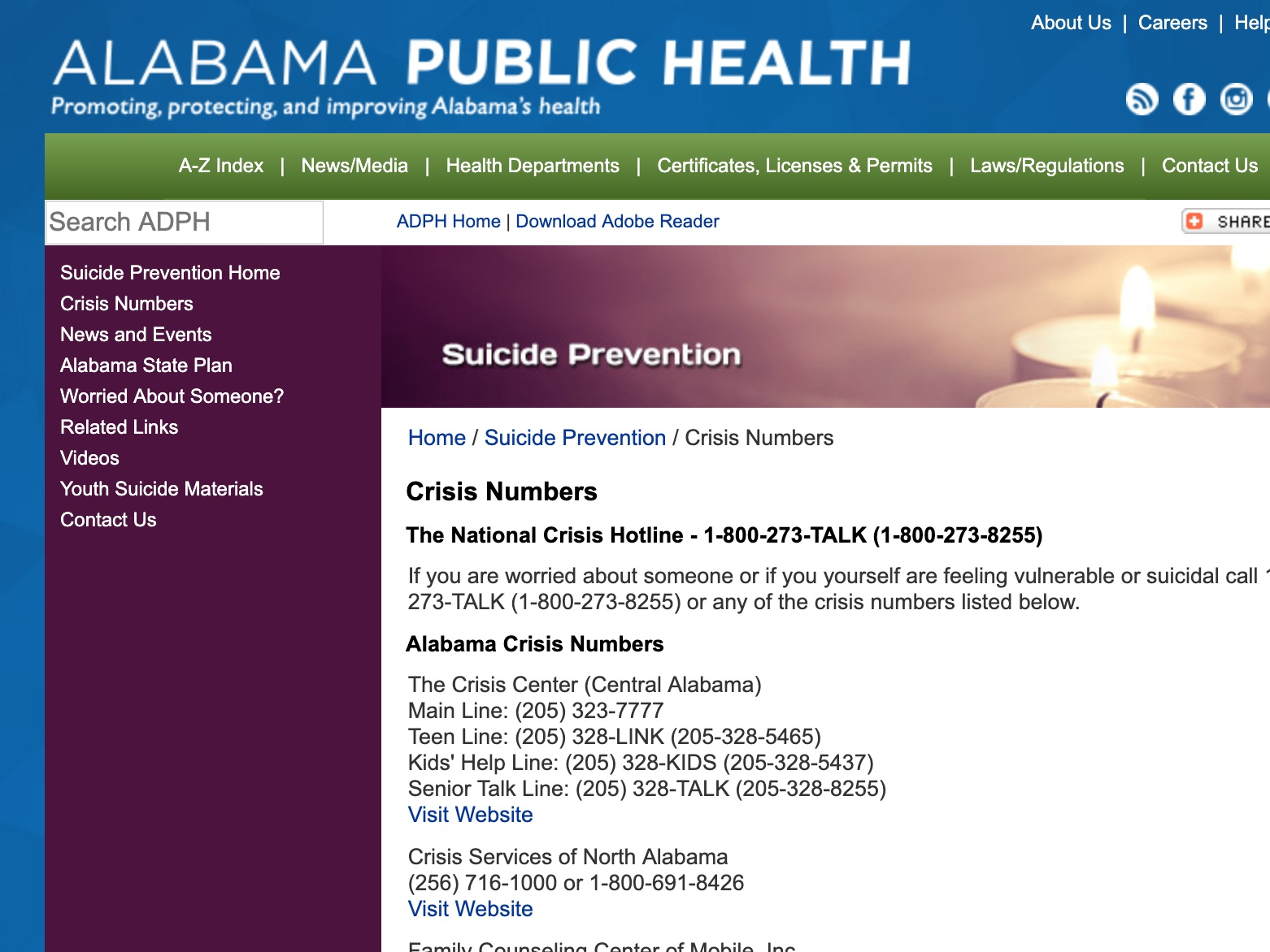 alabama crisis hotlines - Various crisis hotlines and helplines for Alabamans.