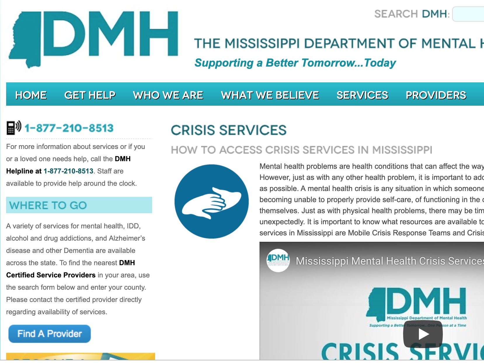 crisis services - The Mississippi Department of Mental Health has many consolidated crisis resources and social service options available on their website.