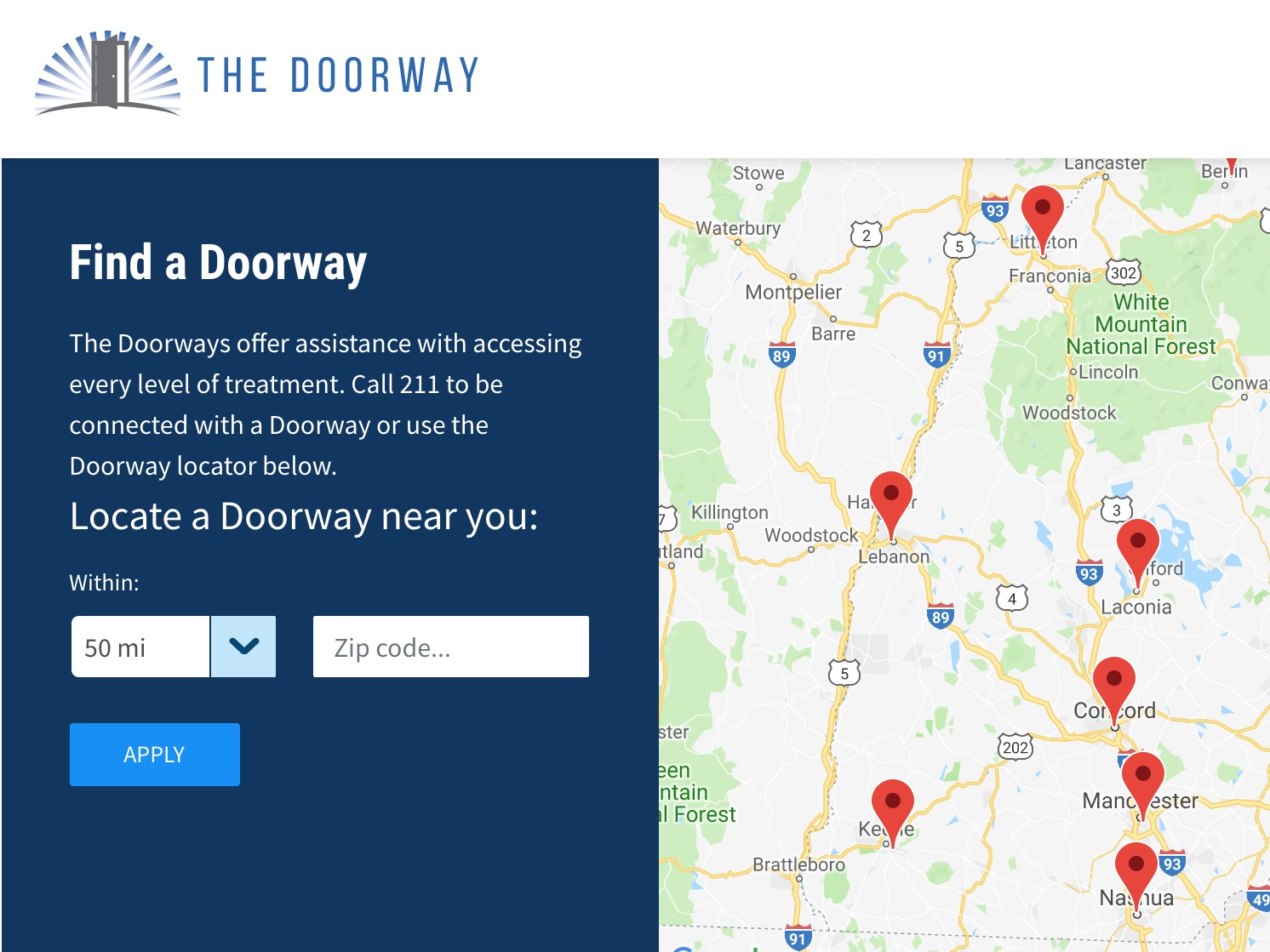 The doorway - Nine Doorway locations provide single points of entry for people seeking help for substance use, whether they need treatment, support, or resources for prevention and awareness. Naloxone can be accessed at any Doorway location.