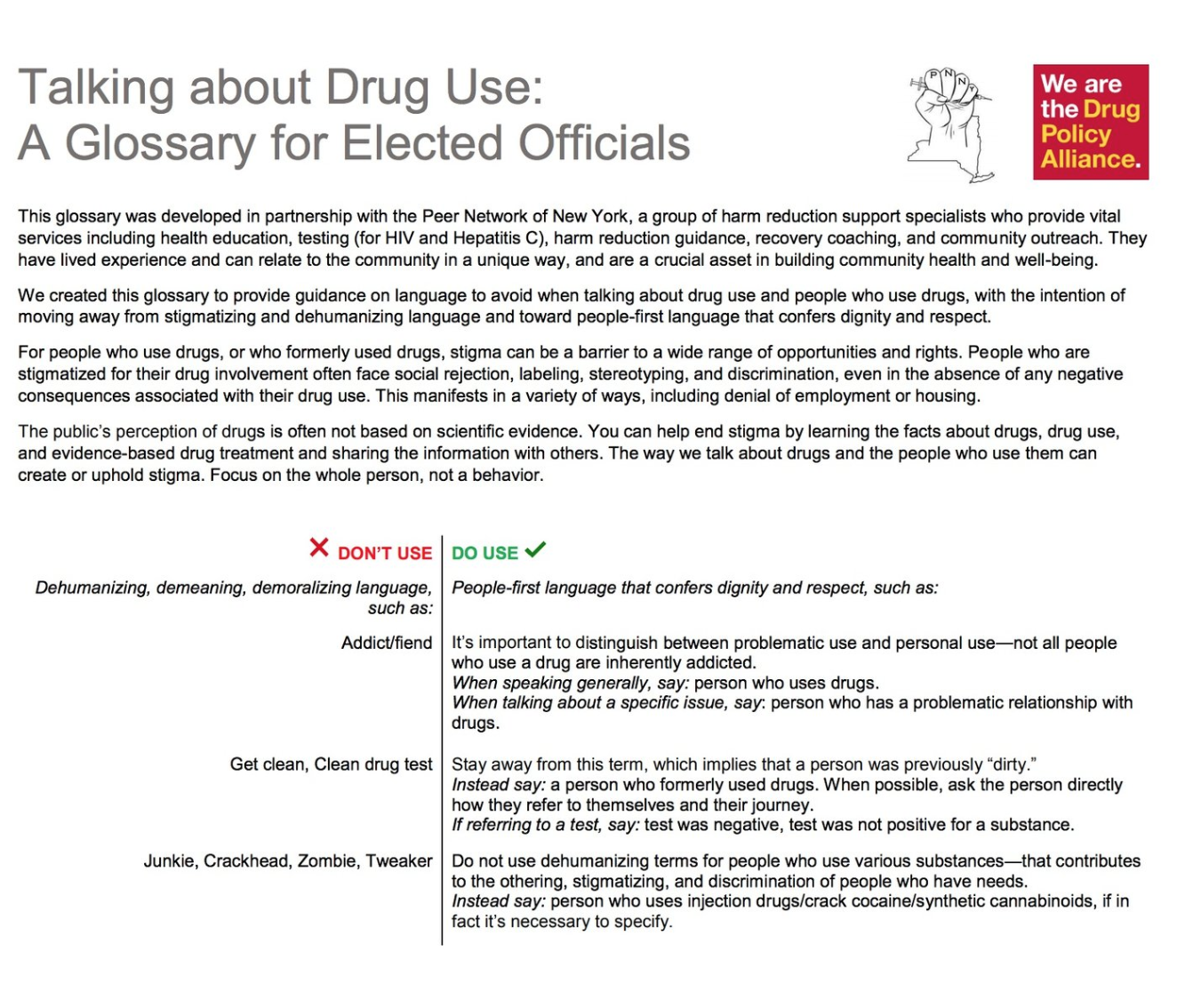 Anti-stigma glossary - In collaboration with the Peer Network of New York, Drug Policy Alliance has produced an invaluable glossary explaining how we are working to reduce stigma through language.