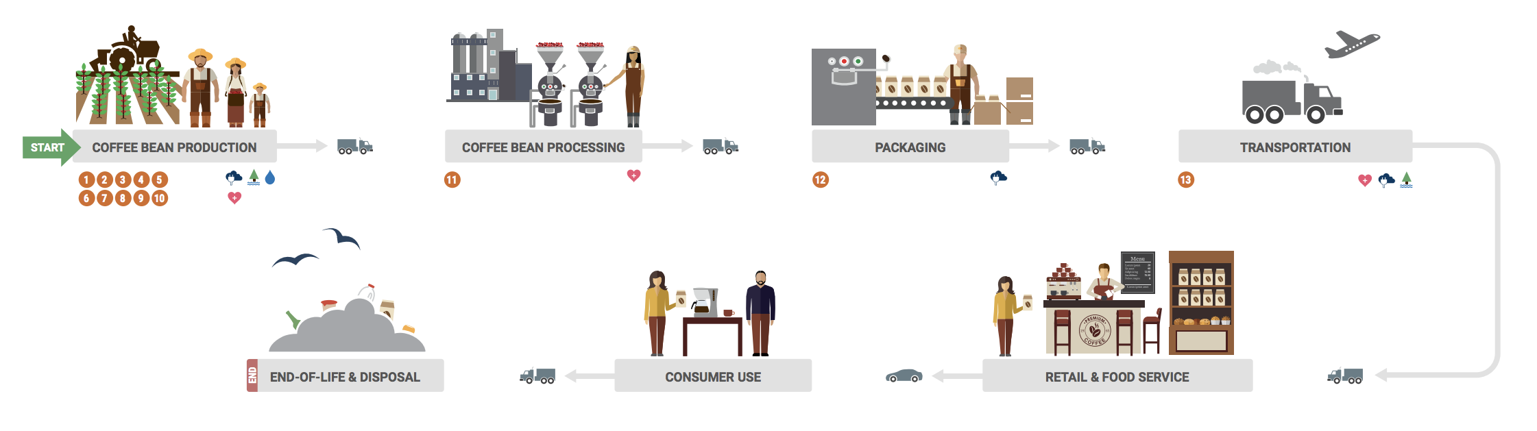 Coffee supply chain diagram published by The Sustainability Consortium™