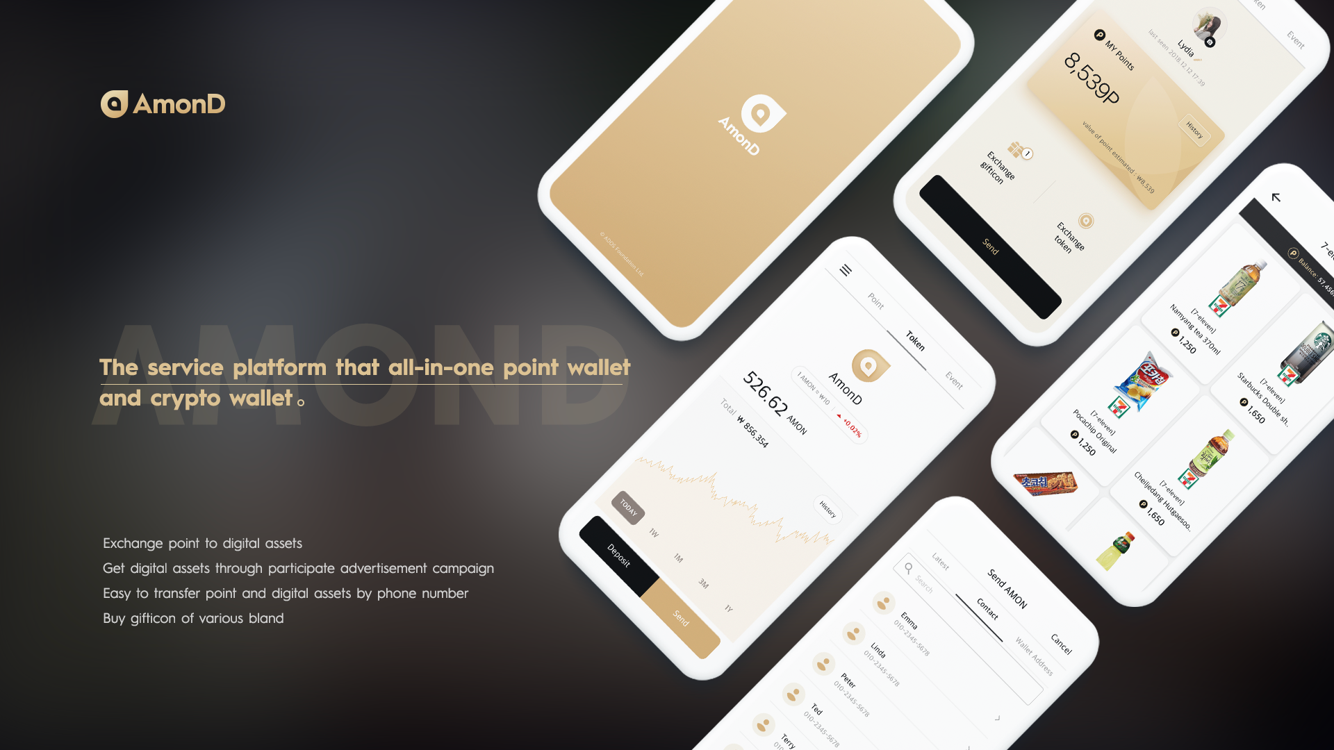 Main App - The main app is an all-in one service platform that combines crypto and point wallets. User can earn our points by participating in advertising campaigns, and they can exchange points with mobile vouchers and tokens as well.In particular, the user can transfer tokens without crypto address by using a phone number. The app provides services to exchange mobile voucher and digital currency by the world's best level of UX.