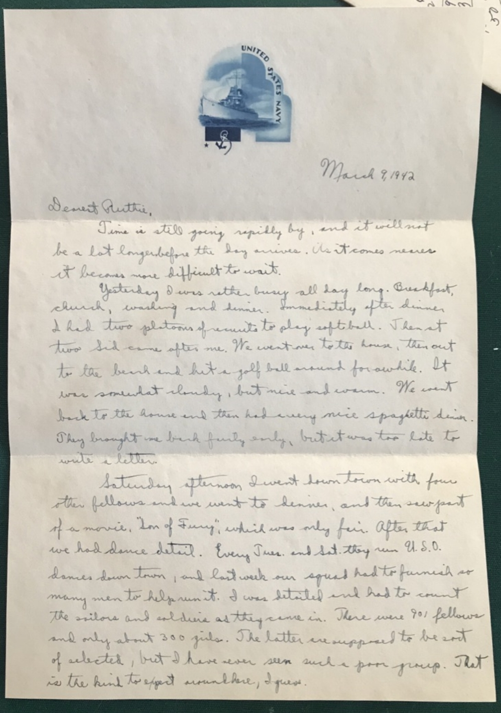 March 9, 1942 letter from Lansing Bicknell to his wife, Ruth Terry Bicknell