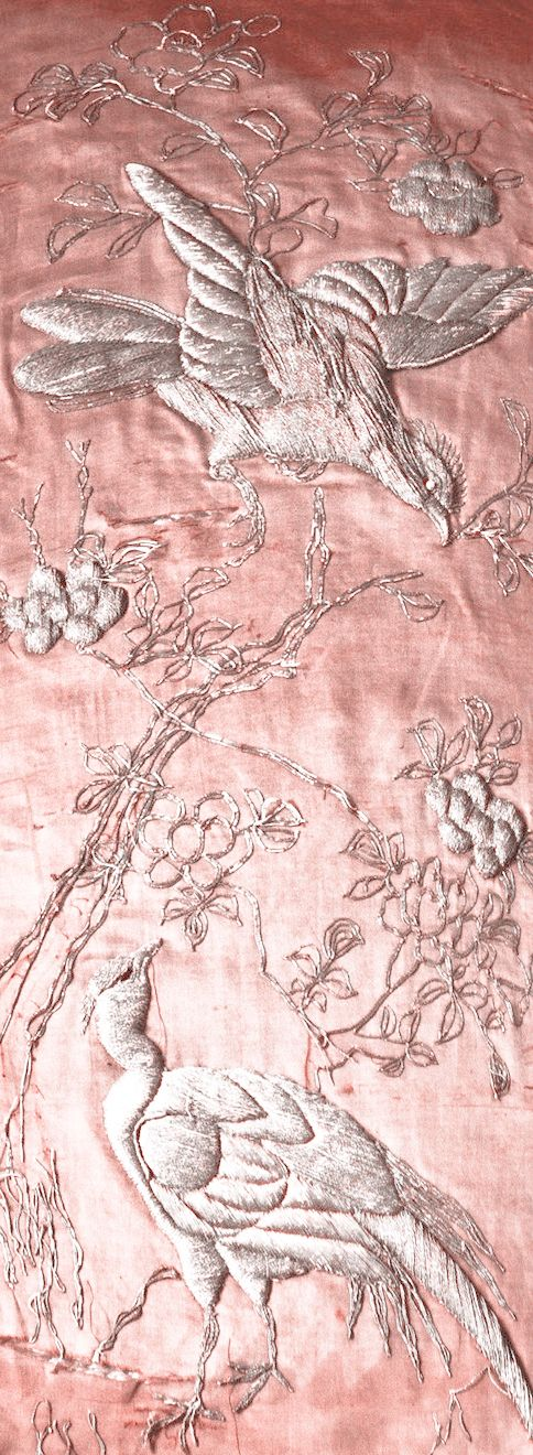 This is a vintage tapestry with satin stitch embroidery on…satin. via arnika43.tumlr.com