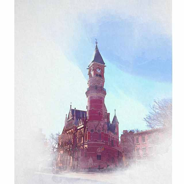 New York Public Library Jefferson Market @nypl . . . . #nycsketchbook #newyorkcity #skyline #nypl #pleinair #painting #digitalpainting #watercolor #illustration #nycpostcard #creativeuprising #artistsoninstagram #art #sketchbook