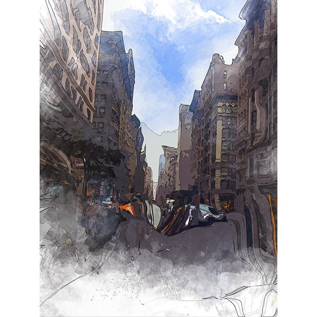 5th Avenue Hopping . . . . . #nyc #sketchbook #pleinair #digitalwatercolor #nycwatercolor #5thavenue #illustration #art #artistsoninstagram #nycsketchbook #cityscape