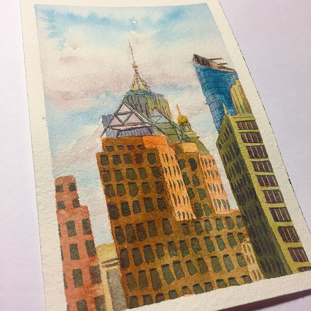 Devil in the windows, angels in the clouds 😈😇🌁 . . . . . #pleinairpainting #art #watercolor #painting #artistsoninstagram #fineart #nycsketchbook #artstudent #pleinair #artstudentsleague #inktober #inktober2018 #singaporeartist #drawing #painteveryday #sketch #artist #sketchoftheday #illustration #newyorkartist #environmentdesign #newyorkcity #architecture #watercolorist #paint  #empirestate #sunset #cityscape #cooperunion