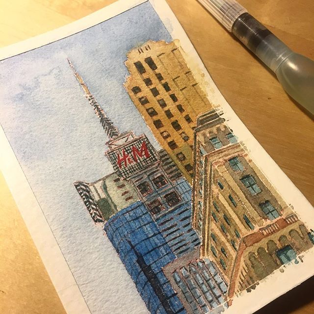 Fashion Empire @hm . . . . . #pleinairpainting #art #watercolor #painting #artistsoninstagram #fineart #nycsketchbook #artstudent #pleinair #artstudentsleague #inktober #inktober2018 #singaporeartist #drawing #painteveryday #sketch #artist #sketchoftheday #illustration #newyorkartist #environmentdesign #newyorkcity #architecture #watercolorist #paint  #empirestate #garmentdistrict district #cityscape #fashionempire #concretejungle