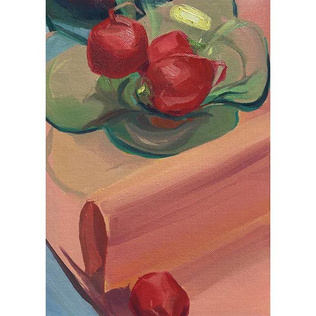 Summer Breakfast Series #7 Rad mornings Kimchi Hype 🎀🌰🌰🌰 . . . . . . #painting #instaart #kimchi #party #radish #sketchoftheday #allaprima #oil #oilpainting #still-life #art  #artist #artistsoninstagram #summer #breakfast #creativeuprising #contemporaryart #paintanyway #inspiration #hype #color #luminosity #fold #fabric #nature #koreandiet #nycart