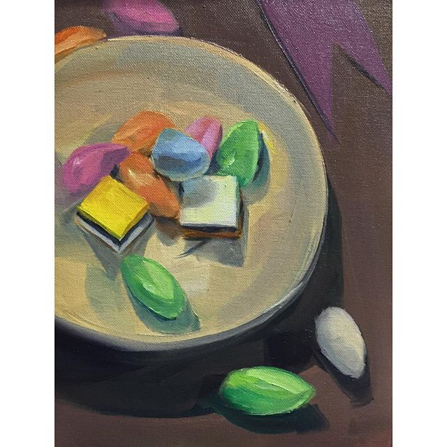 Summer breakfast series #6 Sugar High with Licorice Spice . . . . #candy #sugarhigh #licorice #painting #instaart #sketchoftheday #oilpainting #still-life #artistsoninstagram #summer #breakfast #creativeuprising #contemporaryart #paintanyway #inspiration #color #luminosity