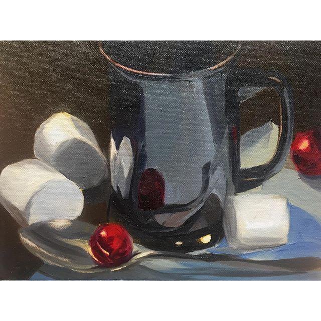 Summer breakfast series #5 Fluffy Hot Cocoa 🍫☕️☁️☁️☁️ . . . . . #painting #allaprima #stilllife #hotchocolate #marshmellow #oilpainting #contemporaryart #sketchoftheday #instaart #art #summer #fluffy