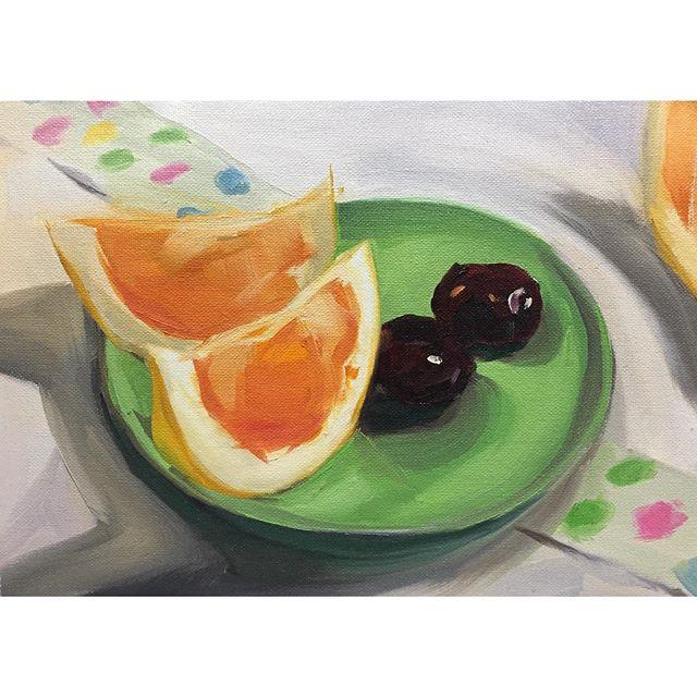 Summer breakfast series #4: Grapefruit party! Taste of sour is a hue away from sweet🍊🍒 . . . . . #grapefruit #cherries #painting #instaart #sketchoftheday #oilpainting #still-life #artistsoninstagram #summer #breakfast #creativeuprising #contemporaryart #paintanyway #inspiration #color #luminosity