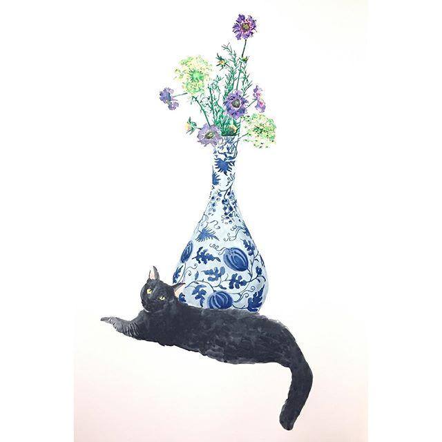 Meet Pepper, Queen of my NYC Life 👸🏿🧶 . . . . . #animalportrait #catsofinstagram #cats #watercolor #stilllife #cats_of_instagram #meow #pepper #painting #floral #richiechenart