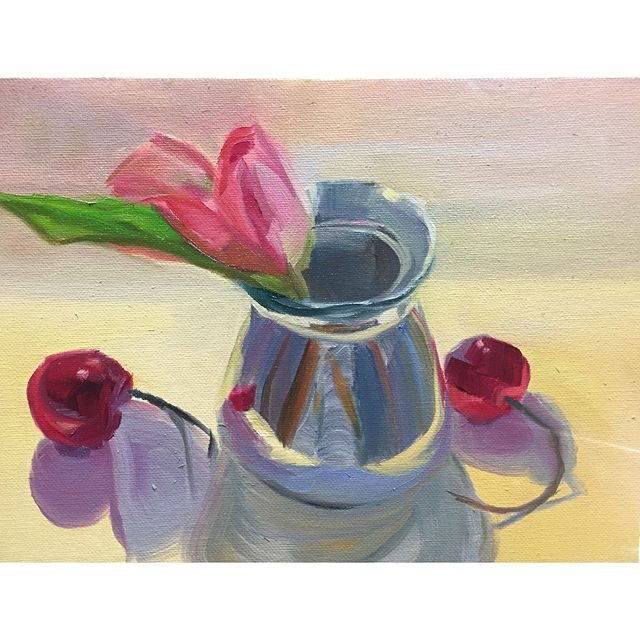 Tulip to thank you for the wonderful summer weekends painting the most elaborate still lifes @karen_oneil_paintings . . . . #painting #allaprima #stilllife #fruit #tulip #floral #oilpainting #contemporaryart #sketchoftheday #instaart #art #summer #cherry #whereswaldo