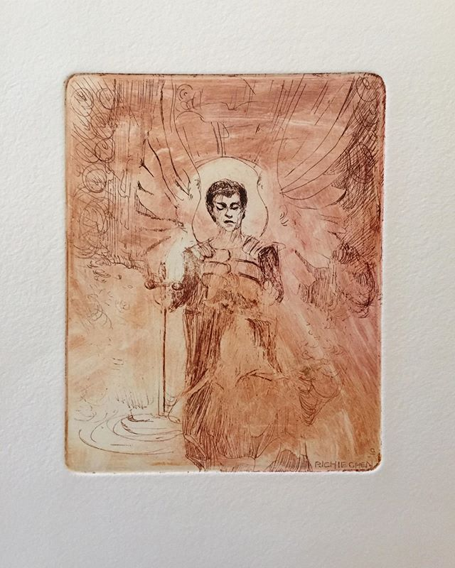 Enlightenment 😇 Maiden ink, print press is back! . . . . #enlightenment #godsblessing #ethereal #printmaking #freshoffthepress #ink #press #etching #sketchoftheday #sketch