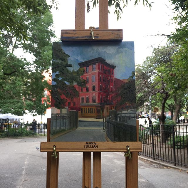Tompkins square park, apparently the 2nd brick building built in NYC. Fall series with a new oil paint set up! . . . . #nycsketchbook #pleinair #nyc #oilpainting #fall #sketch #sketchbook #art #paint #sketchbook