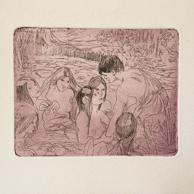 Lure of Beauty 🧜🏼‍♀️🧜🏽‍♀️🧜🏿‍♀️ . . . . #ink #nymphs #johnwilliamwaterhouse #sketch #sketchoftheday #print #fineart