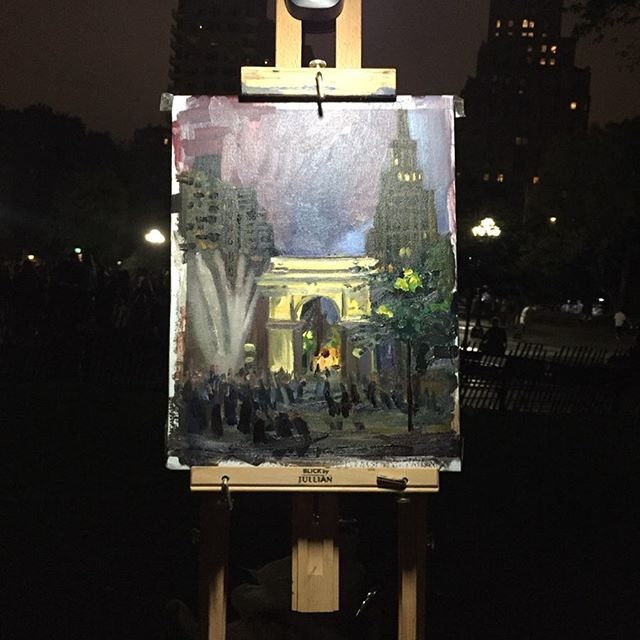 Washington square Arch at night 🌌 . . . . #nyc #washingtonsquarepark #pleinair  #painting #oilpainting #sketchofthenight #paint