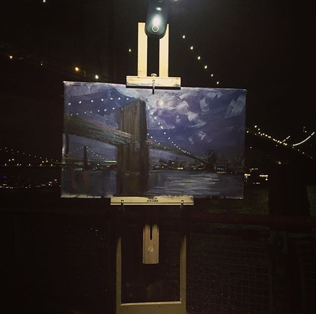 Under the BrooklynBrridge 🌉 . . . . #nyc #brooklynbridge #nycsketchbook #pleinair #painting #oiloncanvas #contemporaryart #contemporaryrealism #modernart #newyorkartist #citylife #naturalism #artzoom #nightpainting