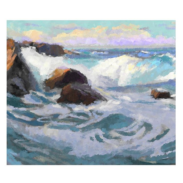 A color study a day feels like going with my heroes on a vacay. Edgar Payne: Laguna Beach 🌊 . . . . #colorstudy #edgarpayne #digitalpainting #oceanvibes #lagunabeach #paintanyway