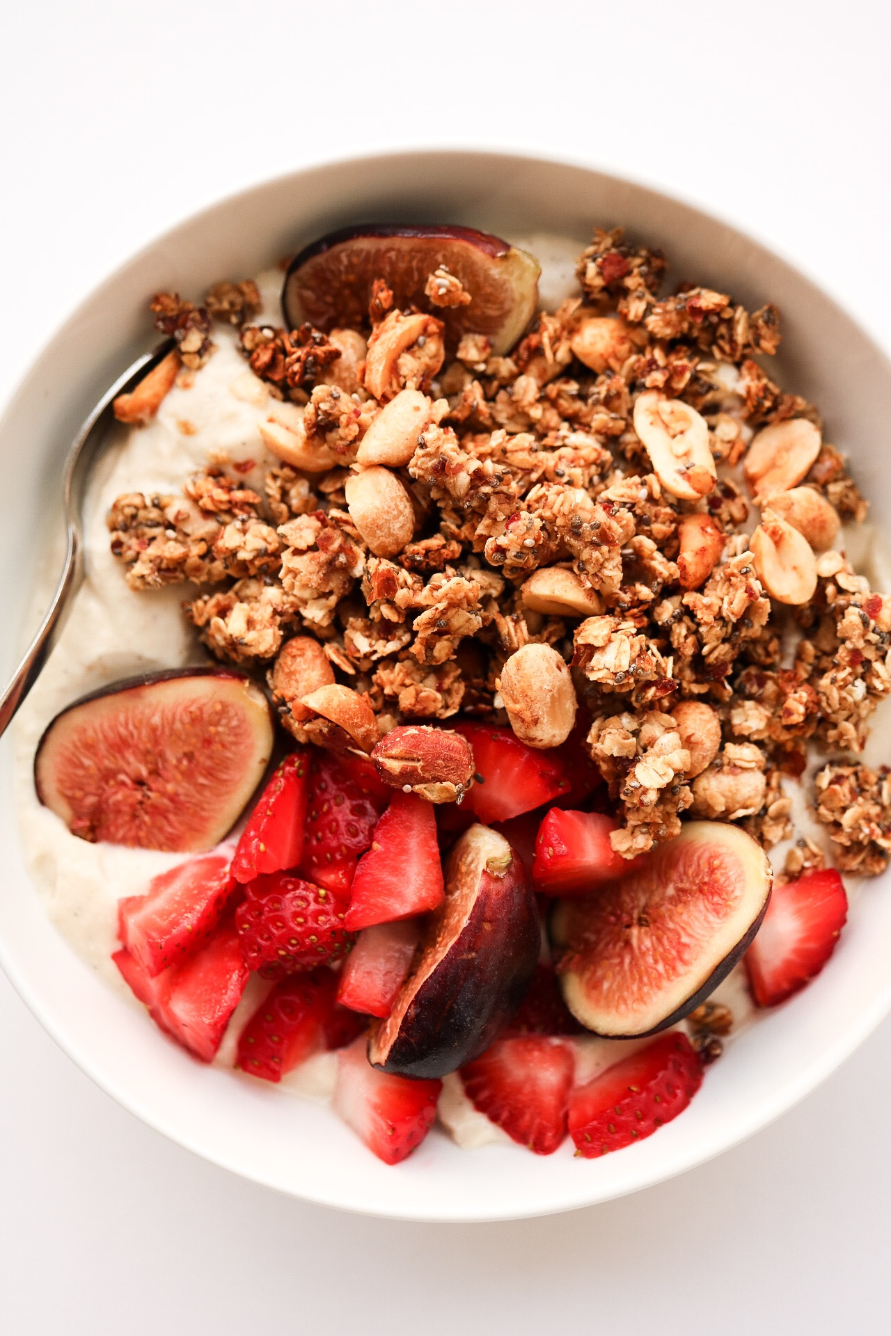 DATE - SWEETENED GRANOLA - INGREDIENTS:1 cup oats1/2 cup nuts of choice2 Tbsp chia seeds2 Tbsp flax seeds1/2 tsp salt1/2 cup dates1/2 cup waterDIRECTIONS:Preheat your oven to 350*F. Line a baking sheet with parchment paper. In a Medium bowl, mix together the oats, nuts, salt, chia and flax seeds and set aside. In a food processor, mix together your dates and water until a paste forms, Add your date paste to the dry ingredients, and mix until everything is fully incorporated. Place the granola on your baking sheet, and bake for around 25 minutes - flipping halfway through. Best served over ice cream, smoothies, and yogurt!