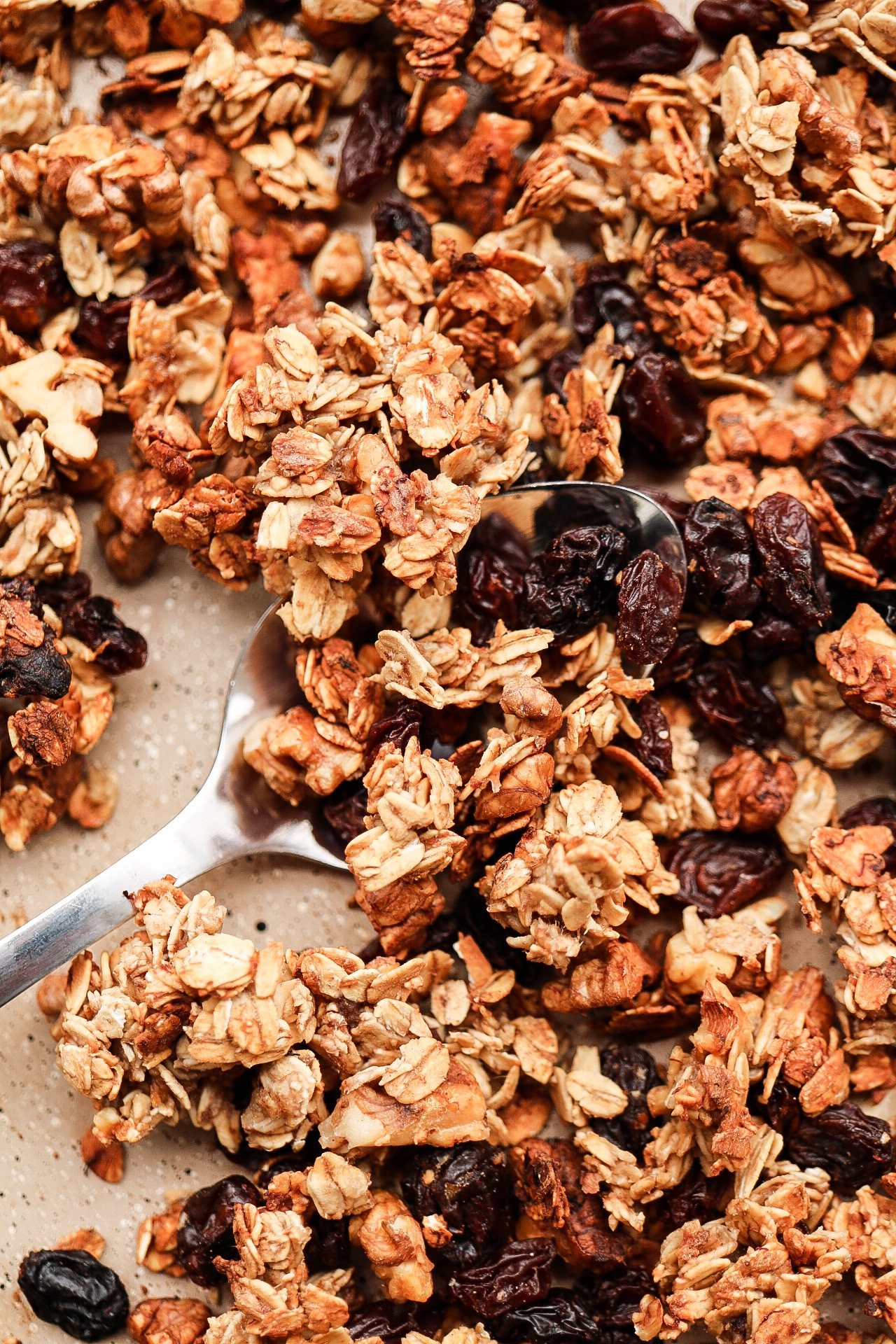 The granola gets super crispy and the raisins get even juicier as they bake.