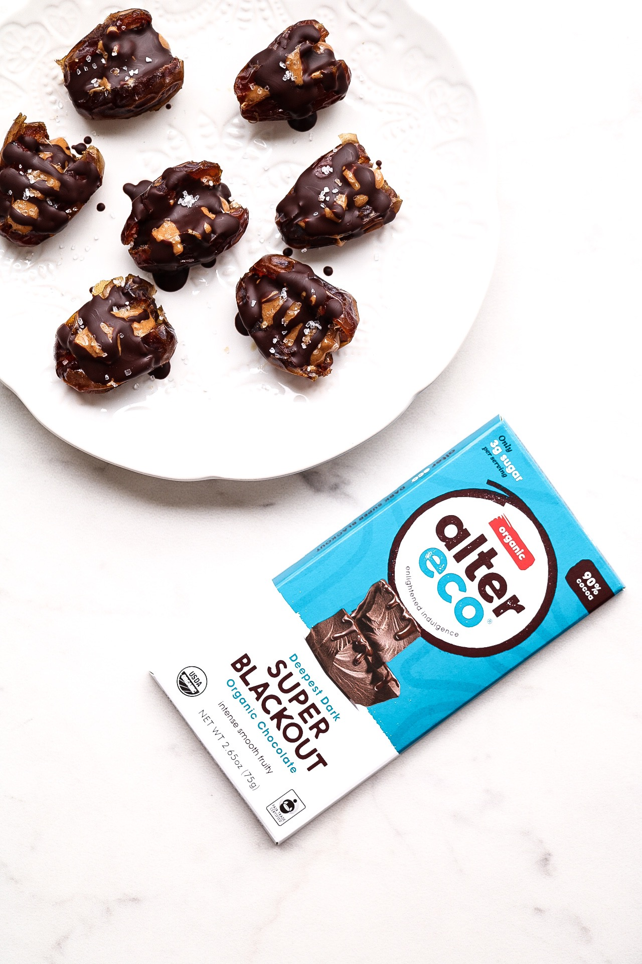 The perfect chocolate to pair with these stuffed dates! Since dates are so naturally sweet, it's a nice balance to have a super dark chocolate as well as the salty peanut butter.