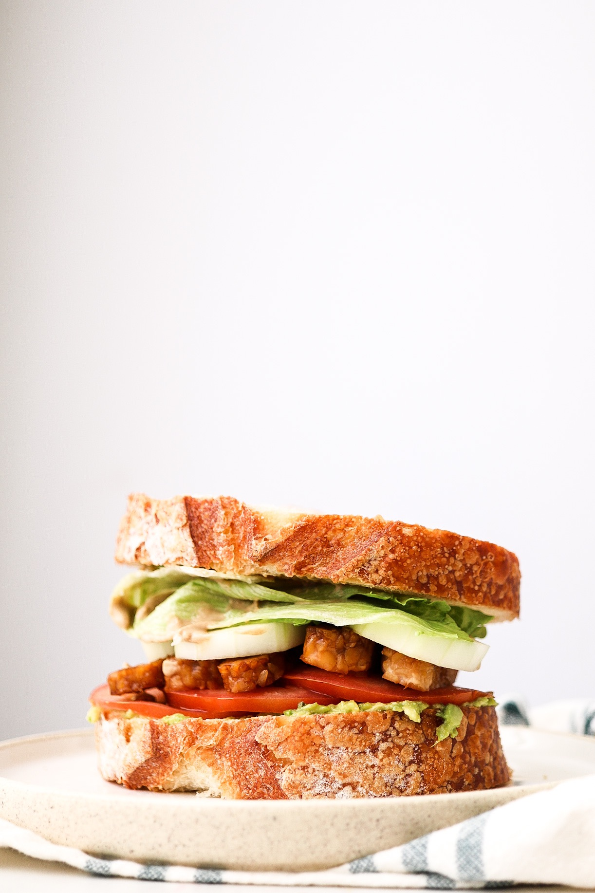 Avocado Tempeh BLT - INGREDIENTS:1 package tempeh1/4 cup water3 Tbsp coconut aminos1/4 tsp salt1 Tbsp maple syrup1/2 Tbsp apple cider vinegar1/2 tsp onion powder1/2 tsp garlic powderINSTRUCTIONS:Slice your tempeh into thin strips, and place into a saucepan with the remaining ingredients. Cook on medium-high heat, mixing the mixture around and getting the tempeh strips fully coated. Allow the mixture to simmer and cook for around 3-4 minutes, until no more liquid is present and your tempeh is beautifully golden and coated.