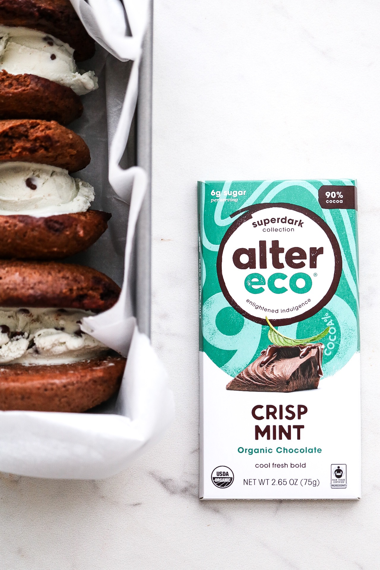 The best chocolate for the job - Alter Eco's new crisp mint organic chocolate is dark, fresh, and slightly sweet.